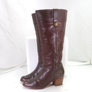 Coach Fayth Brown Leather Boots